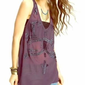 Free People ~ Sheer Embellished Tank ~ Size Small